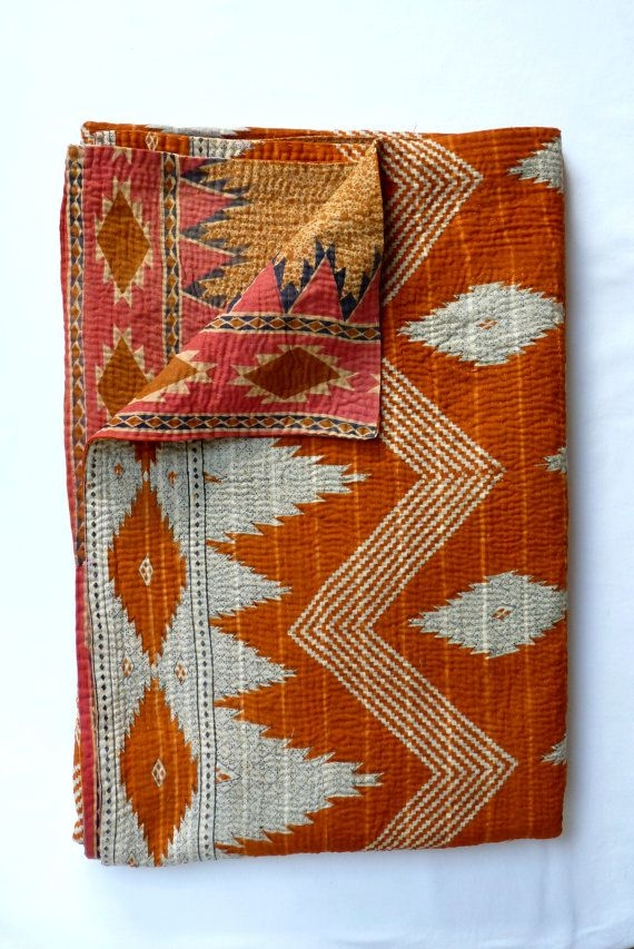 Cool vintage kantha quilt throw in burnt orange vintage kantha 9 Stylish Vintage Kantha Quilts Gallery