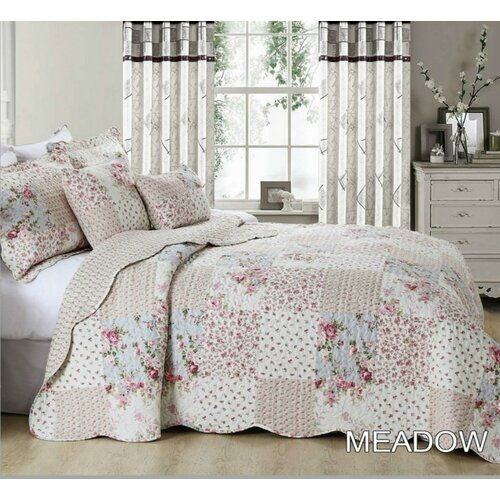 Cozy cress bedspread set with pillow sham brambly cottage bed Beautiful Vintage Floral Quilted Throw Inspirations