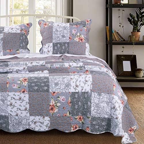 Cozy misc 3 piece gray patchwork quilt king size set farmhouse theme floral plaid square checks pattern bedding oversized Cozy King Size Patchwork Quilt Pattern