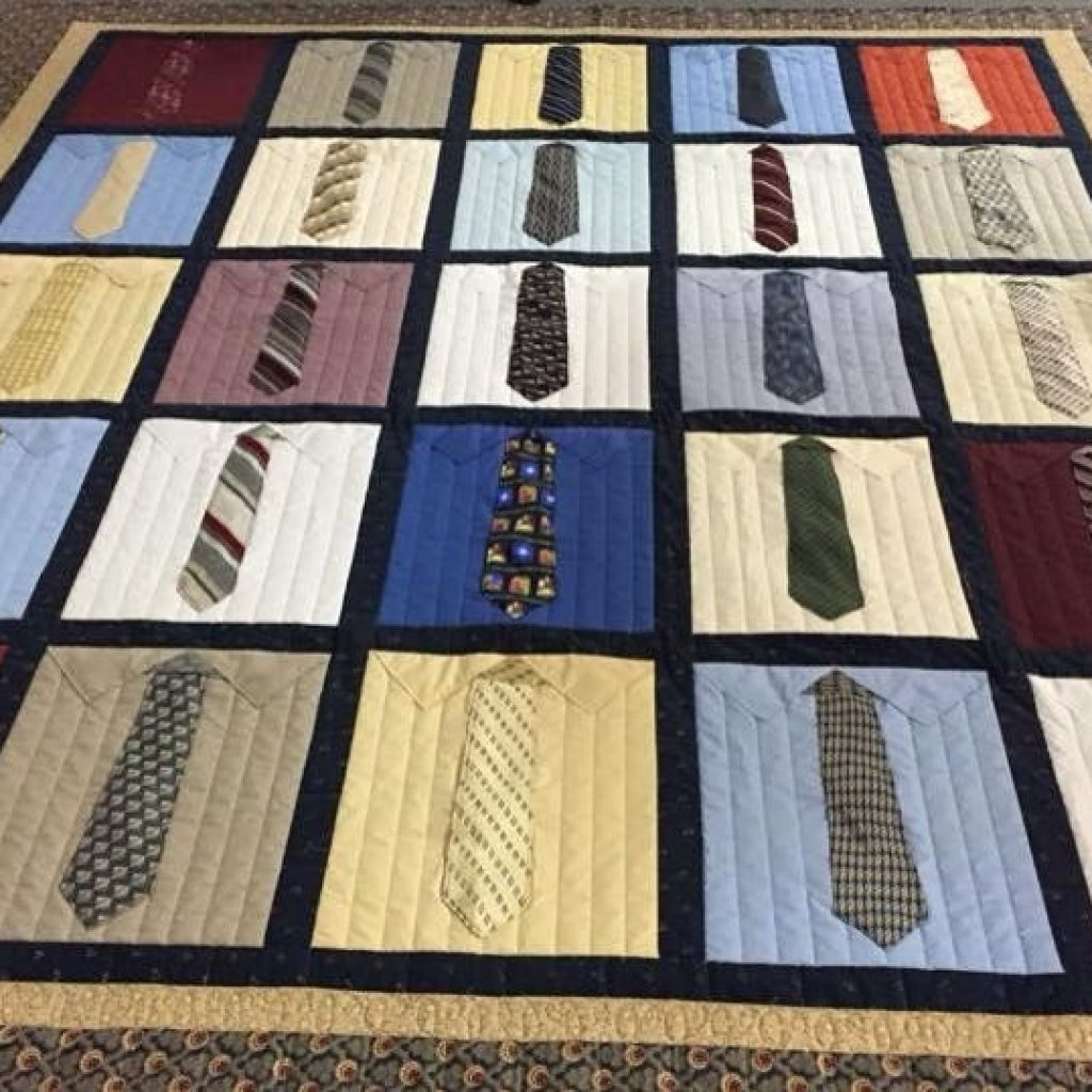 Cozy shirt and tie quilt made from 15x18 inch blocks of mens Cool Tie Quilt Ideas For Gifts Inspirations