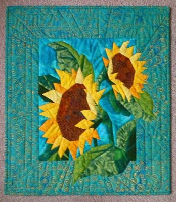 Cozy sunflower quilt 9   Sunflower Quilt Block Pattern