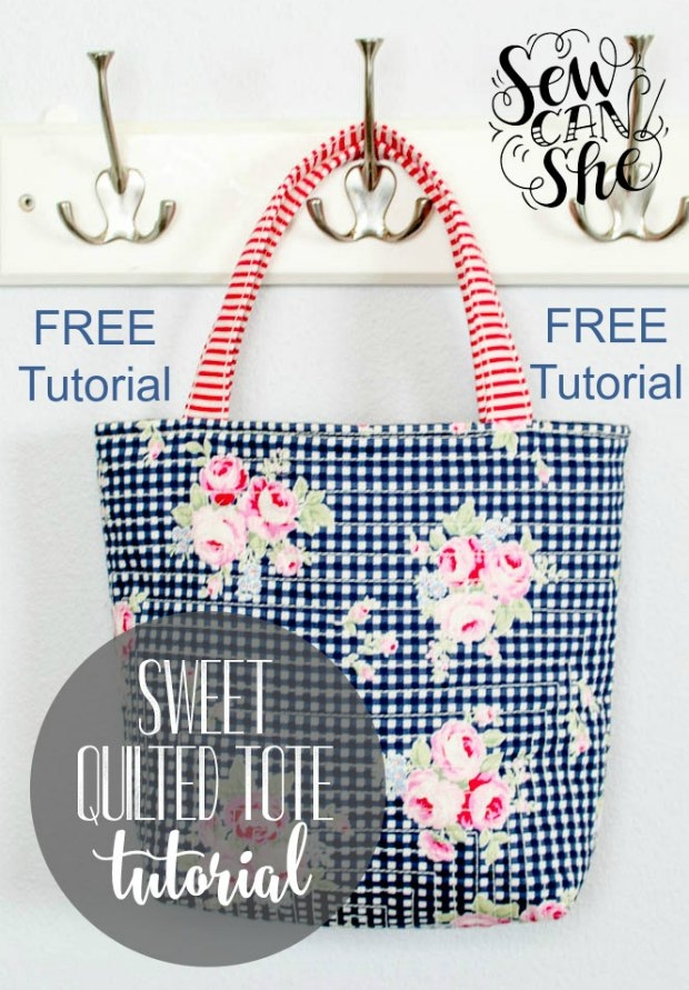 Cozy sweet quilted tote bag free sewing tutorial sew modern bags 9 Cozy Quilted Tote Bag Patterns Gallery
