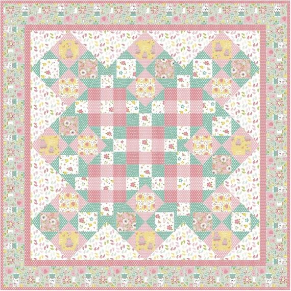 Cozy vintage girl vintage quilt pattern ba patchwork pink floral small flowers plaid riley blake hippos elephants fabric nursery home decor 10   Vintage Baby Quilt Pattern