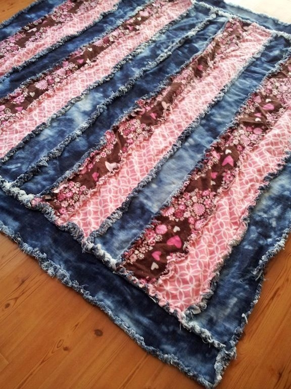denim and pink flannel rag quilt this was so much fun to 10 Interesting Denim Rag Quilt Patterns