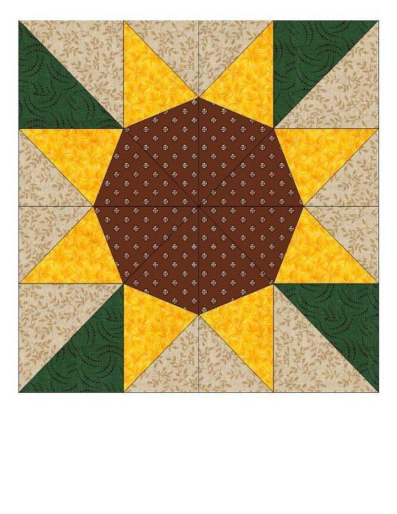 diy crafts now barn quilt patterns paper pieced quilt 9   Sunflower Quilt Block Pattern