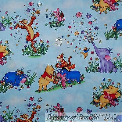 Elegant boneful fabric fq cotton quilt winnie the pooh ba eeyore piglet spring flower ebay 9 Elegant Winnie The Pooh Quilting Fabric Gallery