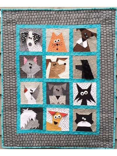 Elegant cats n dogs quilt pattern cat quilt patterns paper pieced 9 Beautiful Dog Quilting Pattern Inspirations