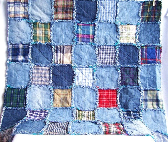 Elegant denim rag quilt tutorial pdf pattern picnic blanket recycled eco friendly fabric rag rug 10 Interesting Denim Rag Quilt Patterns