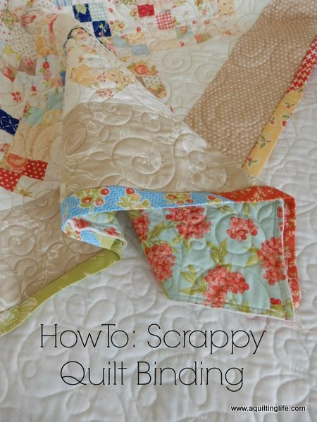 Elegant how to scrappy quilt binding tutorial a quilting life 9 Cool Sewing A Binding On A Quilt Gallery