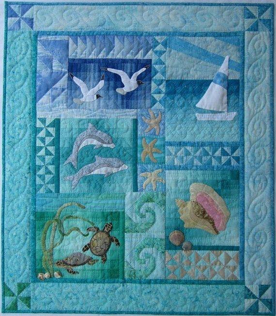 Elegant ocean quilt kit wall quilt patterns nautical quilt ocean Cool Beach Themed Quilt Patterns