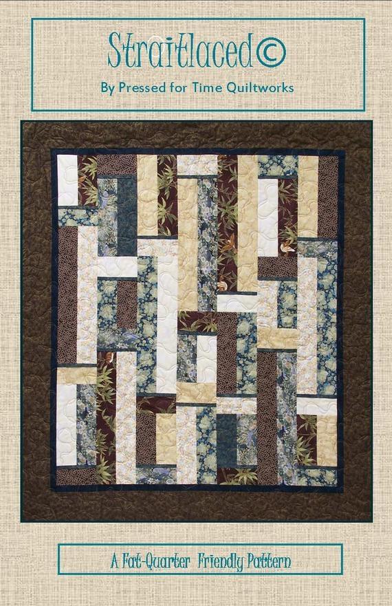 Elegant straitlaced fat quarter quilt pattern beginning quilt pattern easy quilt to sew fat quarter friendly digital download instant pdf Cozy Easy Fat Quarter Quilt Patterns