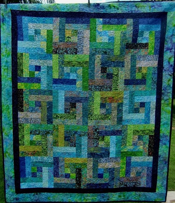 Elegant tropical modern batik jelly roll bali pop throw or lap quilt Batik Jelly Roll Quilt Patterns