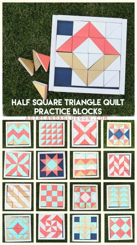 half square triangle quilt practice blocks a girl and a 9 Beautiful Triangle Quilt Blocks Inspirations