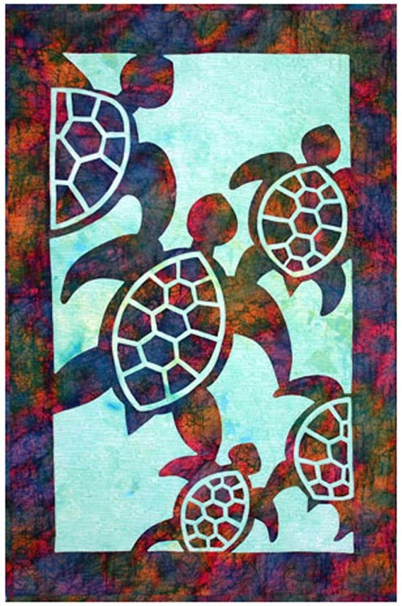 herd of turtles quilt pattern hawaiian appliqu pacific rim 10   Hawaiian Sea Turtle Quilt Patterns