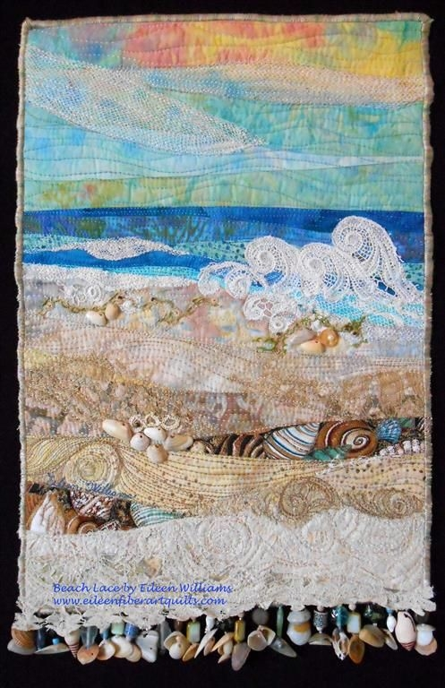 Interesting beach lace fiber art quilt made using some antique lace Cool Beach Themed Quilt Patterns
