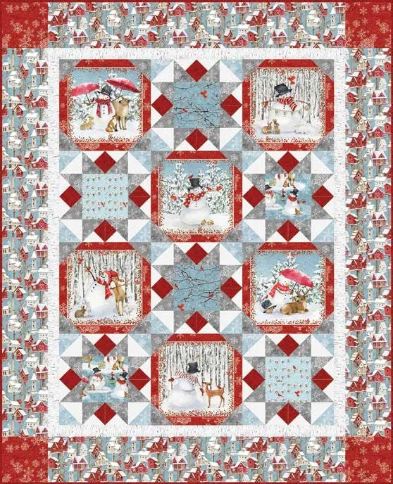 Interesting free pattern sheltering snowman quilt 2 11 Stylish Snowman Quilt Pictures
