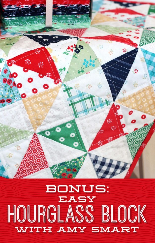 Interesting hourglass quilt block shortcut video quilting diary of a 9 Modern Triangle Quilt Patterns For Beginners Inspirations