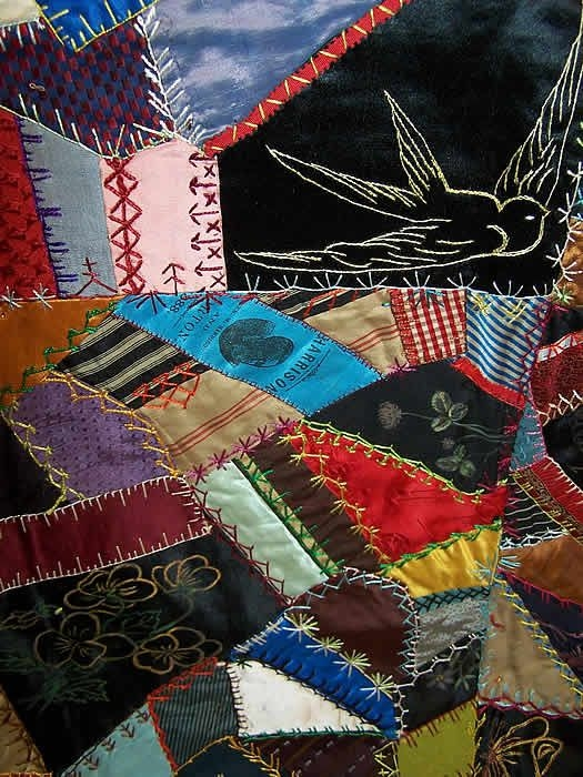 Interesting victorian antique embellished embroidered crazy quilt Modern Vintage Crazy Quilt Inspirations