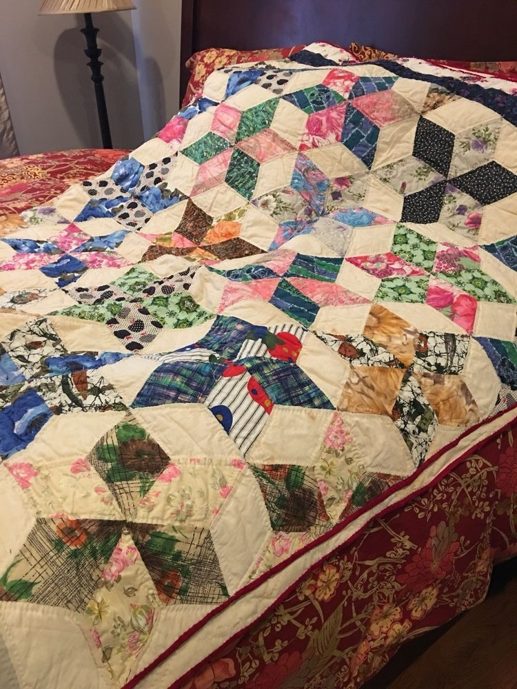 Interesting vintage handmade patchwork quilt never used twin 11 Beautiful Vintage Handmade Quilts Inspirations