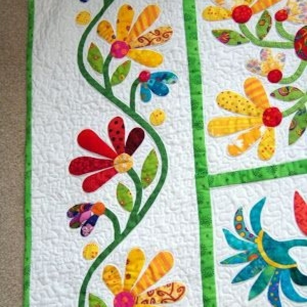 Modern attic window quilt shop how does your garden grow Stylish Hand Applique Quilt Patterns