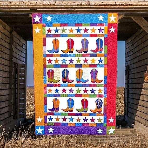 Modern boot n skoot printed quilt pattern quilt patterns cowboy boot quilt cowboys applique quilts happy quilts kids quilts 10 Modern Cowboy Boot Quilt Pattern Inspirations