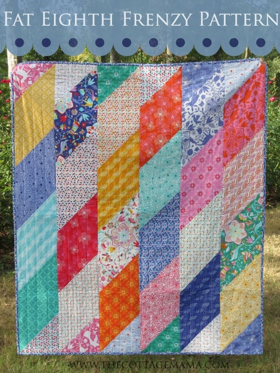 Modern fat eighth frenzy pattern the cottage mama 9 Modern Quilt Patterns Using Fat Eighths