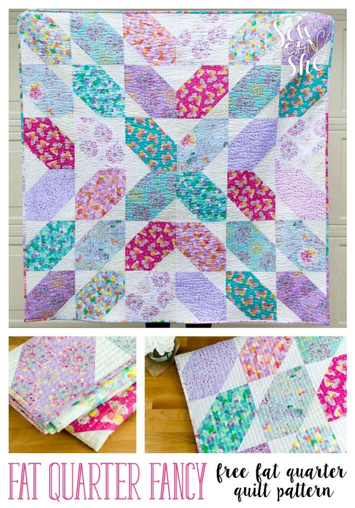 Modern fat quarter fancy free quilt pattern using 9 fat quarters 11 Cool Fat Quarter Bundle Quilt Patterns