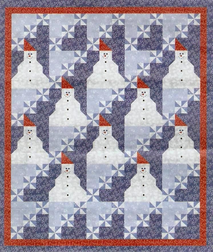 Modern free pattern day snowflake and snowman quilts snowman 11 Stylish Snowman Quilt Pictures