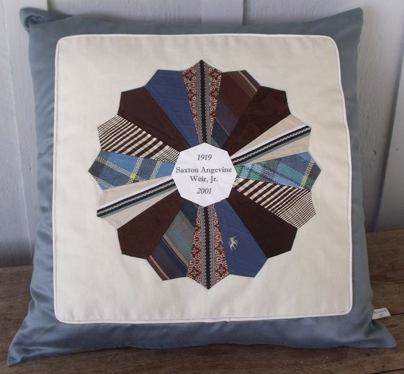 Modern grandpas ties pillow i love this idea and it would be a Cool Tie Quilt Ideas For Gifts Inspirations