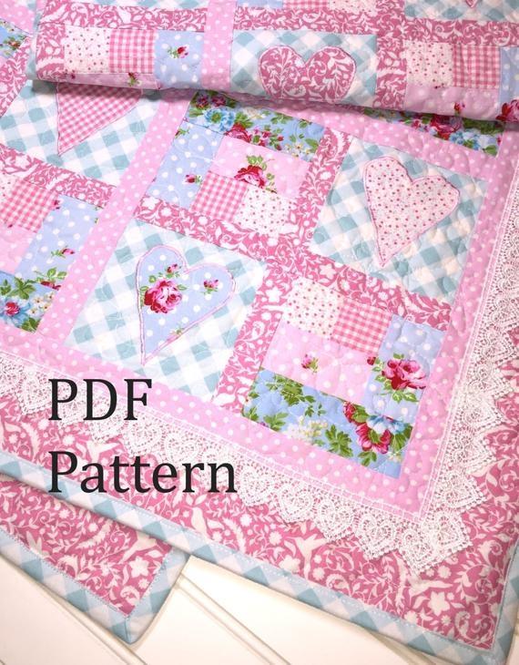 Modern heart quilt pattern ba quilt pattern ba girl quilt pattern log cabin quilt pattern patchwork quilt pattern ba quilt pattern 9 Cozy Baby Patchwork Quilt Patterns For Beginners Inspirations