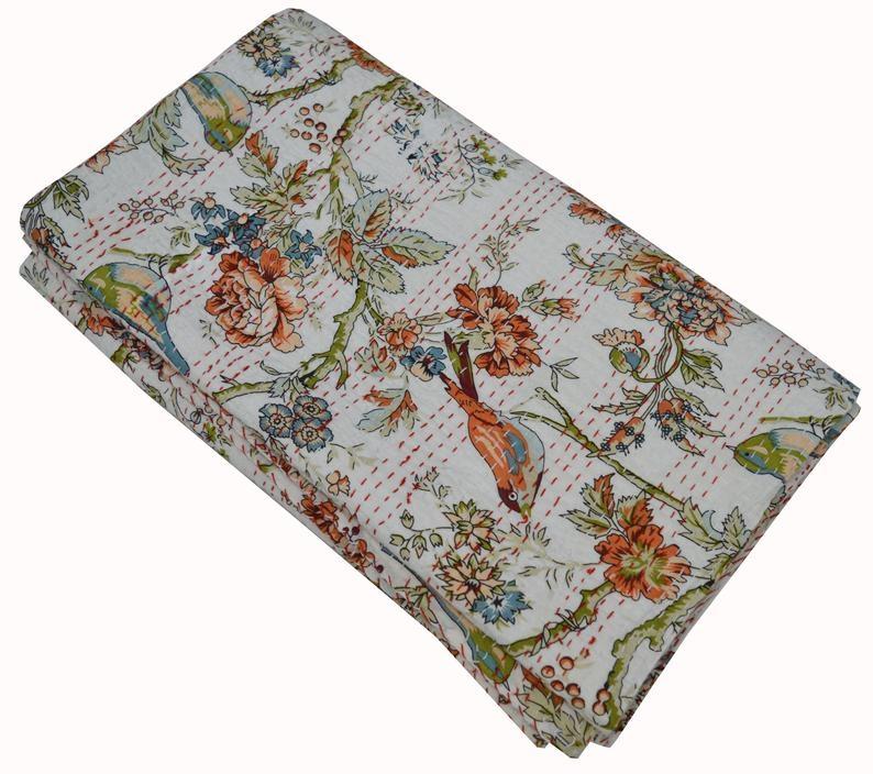 Modern indian handmade floral print queen cotton kantha quilt throw blanket bedspread vintage quilt white 90x108 inch Beautiful Vintage Floral Quilted Throw Inspirations