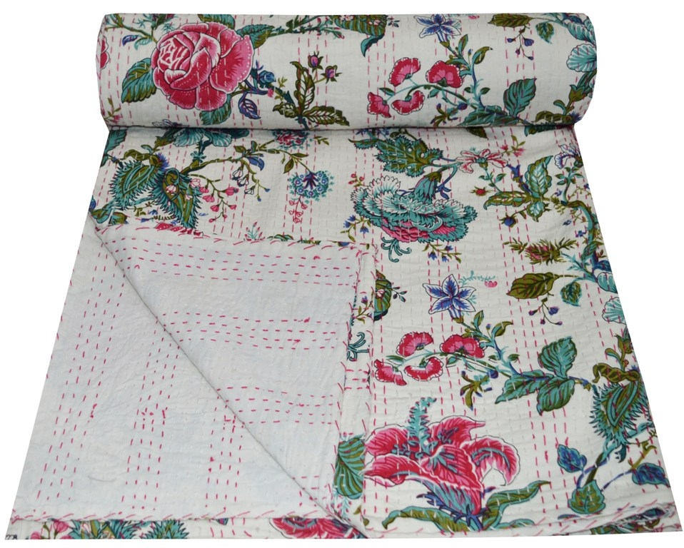 Modern indian handmade queen cotton kantha quilt throw floral print vintage quilt Beautiful Vintage Floral Quilted Throw Inspirations