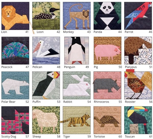 Modern its back 53 animal quilt blocks to paper piece giveaway Unique Farm Animal Quilt Patterns Inspirations