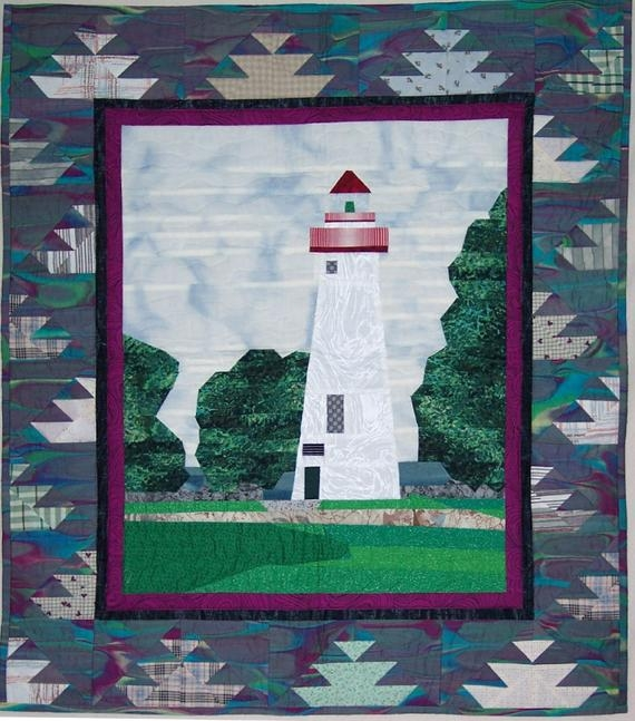 Modern lighthouse quilt pattern marblehead lighthouse wall hanging 9 Cool Lighthouse Quilt Patterns Gallery