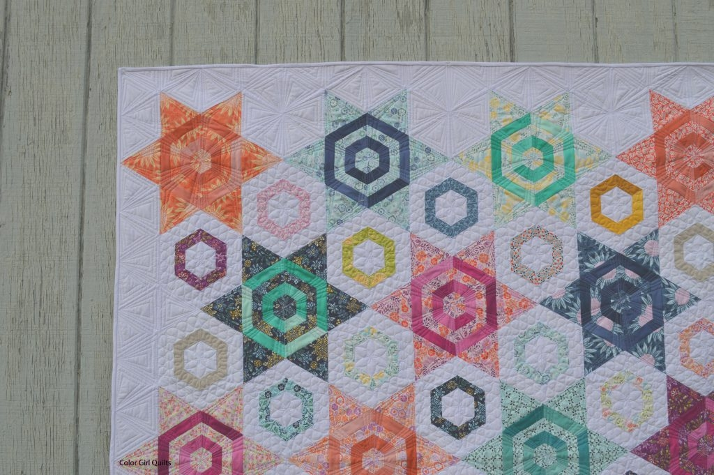 Modern modern hexagon quilt color girl quilts sharon mcconnell 11 Modern Modern Hexagon Quilt Patterns Inspirations