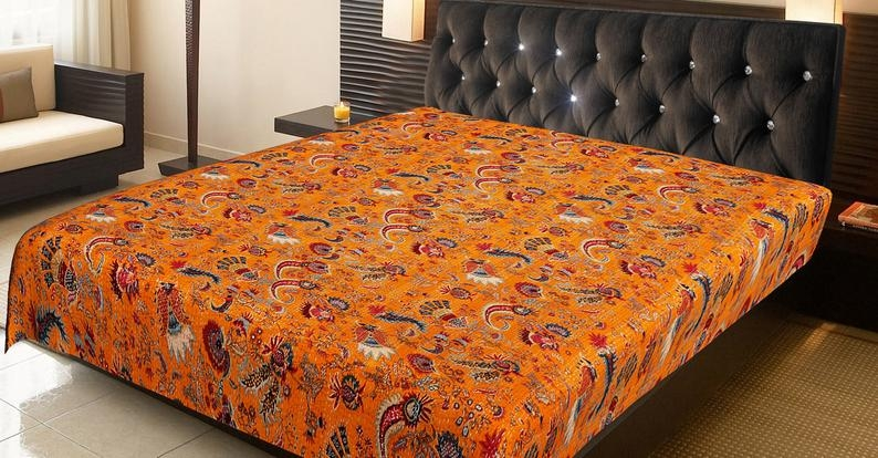 Modern orange mukat comforter quilted throw blanket boho hippie Beautiful Vintage Floral Quilted Throw Inspirations