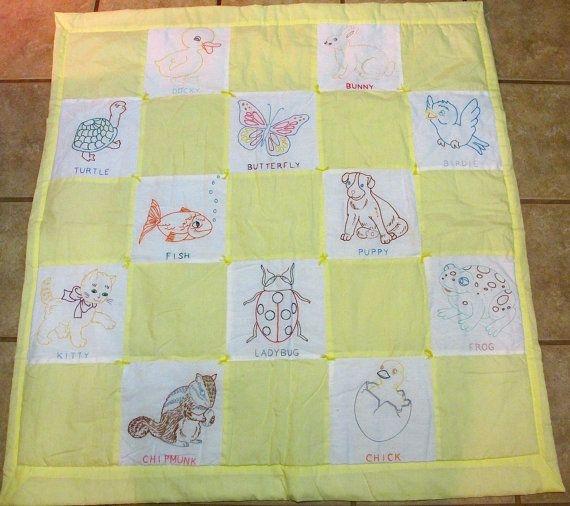 Modern vintage embroidered ba quilt vintage ba quilt ba 10   Vintage Baby Quilt Pattern