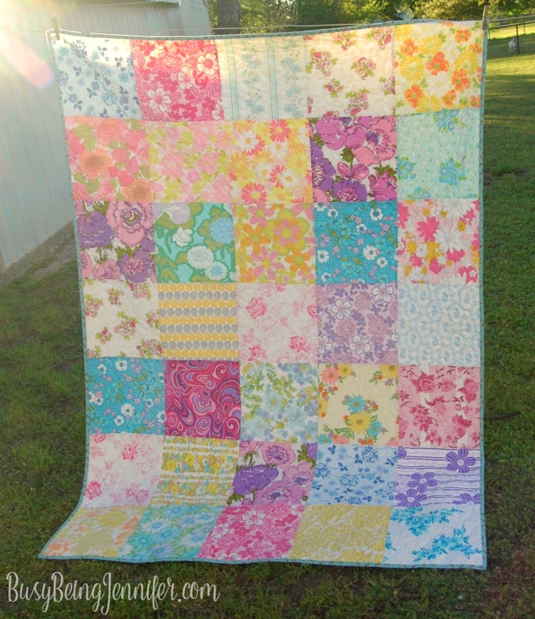 my best vintage sheet quilt yet busy being jennifer Unique Vintage Sheet Quilt Gallery