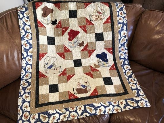 New ba western quilt pattern western pals cute cowboy themed gift easy bed or wall hanging appliqu 10 Cool Western Themed Quilt Patterns
