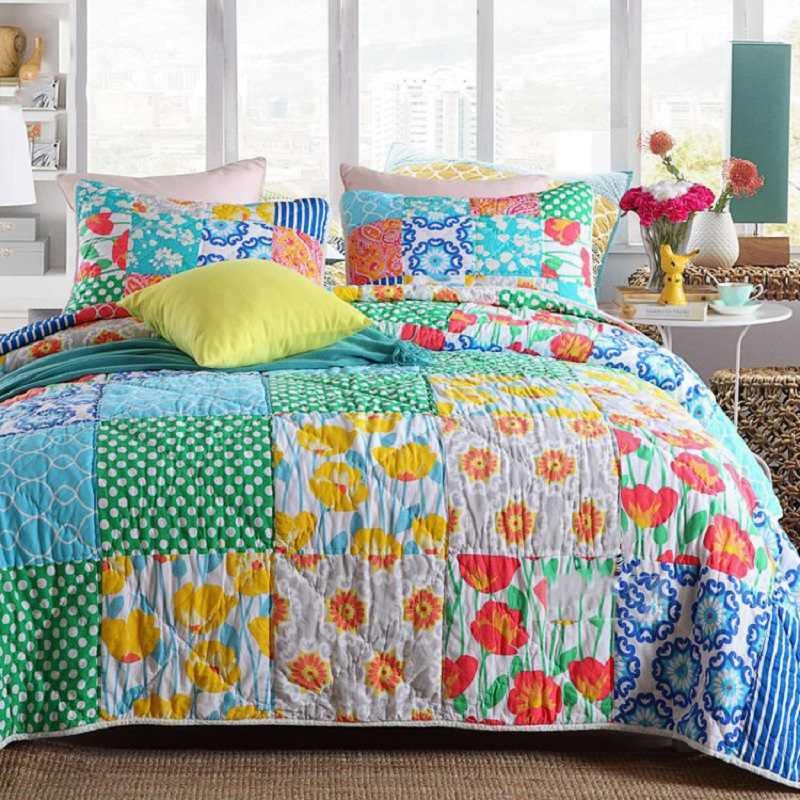 New cotton handmade patchwork quilt set 3pcs vintage bedspread quilted bedding quilts bed covers king size american style coverlets 11 Beautiful Vintage Handmade Quilts Inspirations