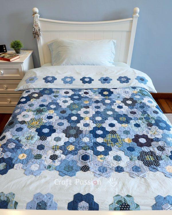 New modern hexagon flower quilt duvet how to craft passion 11 Modern Modern Hexagon Quilt Patterns Inspirations