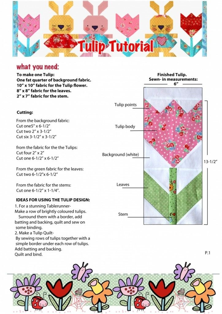 New tulip tutorial small quilt projects flower quilt 9   Tulip Quilt Block Pattern Inspirations