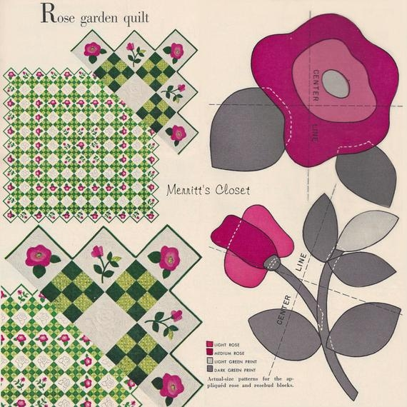 New vintage applique quilt pattern from the original rose garden quilt pattern appliques are in actual size instant download pdf Cool Antique Applique Quilt Patterns