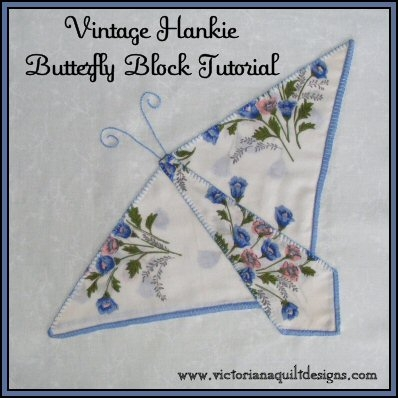 New vintage hankie butterfly block quilt pattern tutorial from 10 Beautiful Handkerchief Butterfly Quilt Pattern