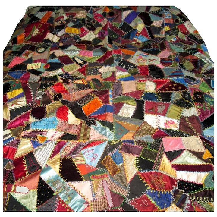 New vintage silk velvet patchwork crazy quilt with embroidery Modern Vintage Crazy Quilt Inspirations