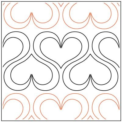 Stylish andis ribbon heart quilting pantograph sewing pattern from andi rudebusch Cozy Quilting Sewing Patterns Inspirations