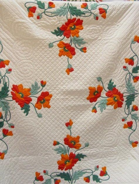 Stylish antique poppy applique quilt ive been looking for one of Cool Antique Applique Quilt Patterns