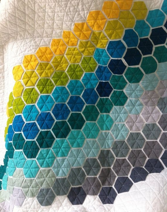 Stylish ba steppdecke moderne sechseck quilt kinderbett patchwork 11 Modern Modern Hexagon Quilt Patterns Inspirations