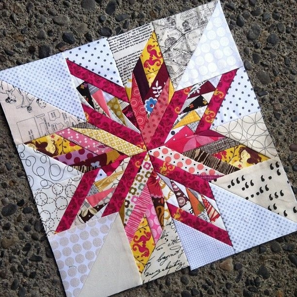 Stylish block 5 mixture of ohio star and oklahoma star lowvolume Interesting Wombat Siouxsie Quilts Paper Piecing Patterns Inspirations