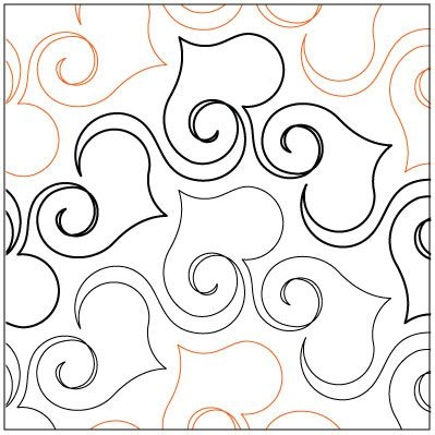 Stylish curly hearts quilting pantograph pattern lorien quilting 11 Stylish Pantograph Patterns For Longarm Quilting Gallery
